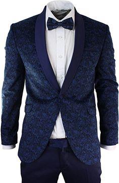 72e0f6b7 Mens Slim Fit Velvet Paisley Blazer & Trouser Tuxedo Dinner Suit Blue Satin  Trim: Amazon.co.uk: Clothing