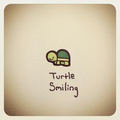 Turtle Smiling Cute Turtle Drawings, Animal Drawings, Cute Drawings, Turtle Sketch, Tiny Turtle, Turtle Love, Pet Turtle, Cute Turtles, Baby Turtles