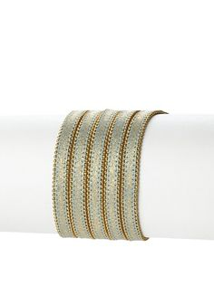 just an idea with leather Presh 5-Strand Ball Chain Multi-Wrap Bracelet, Blue Shimmer at MYHABIT