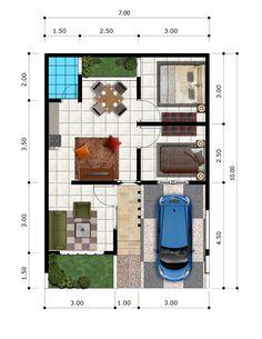 Berikut adalah denah rumah minimalis type 45 di bogir