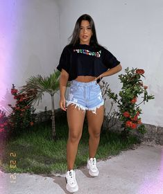 Cute Casual Outfits, Short Outfits, Summer Outfits, Girl Outfits, Comfy Casual, Casual Looks, Girl Fashion, Fashion Looks, Womens Fashion