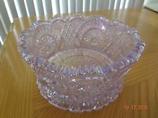 "L E Smith Pink Iridescent Carnival Glass Bowl~RARE~6 1/2""~Hobstar & Feather~MINT"