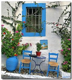 Colours of Greece Kos Island Greece Greek House, Cozy Cottage, Greek Islands, Mykonos, Belle Photo, Windows And Doors, My Favorite Color, Garden Design, Beautiful Places