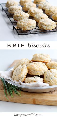 Tender, fluffy biscuits made from scratch with chunks of Brie cheese and chives! The perfect addition to any meal! | http://LoveGrowsWild.com