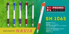 El artículo del día es el SH 1065 BOLÍGRAFO NAVIA (MECANISMO PULSADOR.) Conoce más de él en www.promoopcion.com Material: Plástico Medida: 1.2x13.9 cm Área de impresión: 0.6x3 cm Barril / 0.4x2.6 cm Clip Técnica de impresión recomendada: Serigrafía Colores: A/M/N/O/R/V  CONSULTA EXISTENCIAS Y PRECIOS CON TU EJECUTIVA DE CUENTA.