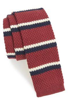 1920s style mens sport knit skinny  tie. Mens 1901 Club Stripe Knit Cotton Tie Size Regular - Red $39.50 AT vintagedancer.com