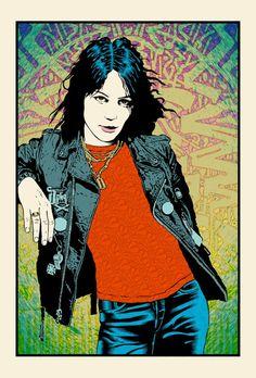 """Joan Jett"" by Chuck Sperry.  21"" x 31"" 7-color Screenprint.  Ed of 300 S/N."