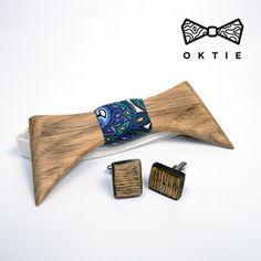 """OKTIE - wooden accesorries: OKTIE Wood Bow Tie Original Series """"Dracula"""" set"""