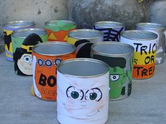 this would be perfect for the school halloween party...decorate empty formula tins and fill each with a treat. Let them bowl with a small pumpkin and whichever they knock down they get to take the treat inside! #halloween #partygames