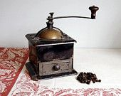 Antique Coffee Mill Vintage Grinder Brass and Iron