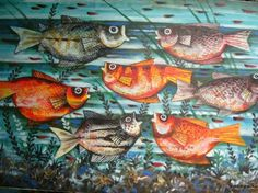 Paco Gorospe painting - (Abstract aquarium fish) About 30 x 40 Oil on canvas. Purchased by from Ruffee Art Gallery in Ermita, Manila - December, 2004 Philippine Art, Artists Like, Pinoy, Aquarium Fish, Filipino, Philippines, Oil On Canvas, Artworks, Art Gallery