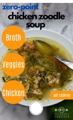 How about some comfort soup like our Zero-Point Chicken Noodle (Zoodle) Soup? Our soup is loaded with vegetables, diced chicken, and warm broth goodness. Low Sugar Recipes, No Sugar Foods, Light Recipes, Healthy Side Dishes, Healthy Meals, Healthy Recipes, Sauteed Carrots, Diced Chicken, Frozen Vegetables
