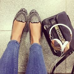 jeweled flats - Jeffrey Campbell and the headphones i love but don't need/