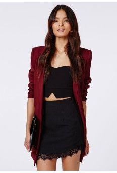 Lucindar Textured Curve Hem Lace Trim Mini Skirt Black