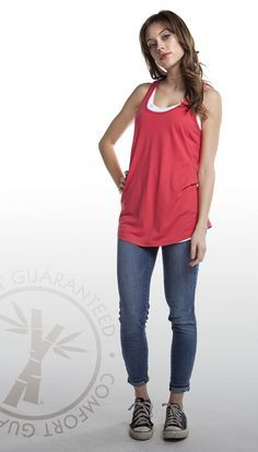 07649f51eb9ec Layer it up this fall with our irresistibly soft Bamboo Racer Tank in Coral  Red.