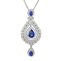 Capucine pendentif Saphir et Diamant