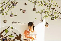 Branch with Flying Birds and Picture Frame.... cute idea!