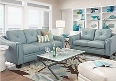 picture of Cindy Crawford Home Marcella Spa Blue Leather 2 Pc Living Room  from Leather Living Rooms Furniture