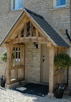 Shed Plans - Porch by Border Oak - Now You Can Bui. - Informations About Shed Plans - Porch by Border Oak - Now You Can Bui. House With Porch, House Front, Border Oak, Porch Canopy, Oak Frame House, Front Door Porch, Front Porches, Porch Oak, Oak Front Door