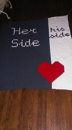 This Her Side/His Side Afghan comes in a pdf format that includes basic written instructions, a regular size graph (that does print out on multiple pages) and a scaled down graph that will print on one page. There is also two Row by Row word charts - one in color and one in black and white, as shown in picture.