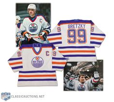 """This Gretzky game-worn jersey commemorates the Great One's goal and his 1987 Stanley Cup Final win with the Edmonton Oilers. Collectors and experts speculate that it's the """"most important"""" Gretzky jersey ever auctioned. Stanley Cup Finals, Wayne Gretzky, Edmonton Oilers, Nhl, Hockey, Auction, Game, Classic, Sports"""