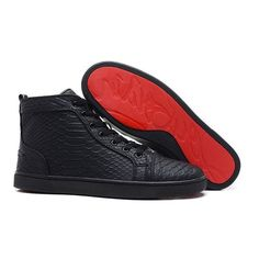 Christian Louboutin Rantus Flat Python Leather High Top Mens Sneakers... ❤ liked on Polyvore featuring men's fashion, men's shoes, men's sneakers, mens black high top sneakers, mens sneakers, mens leather high tops, christian louboutin mens sneakers and mens shoes