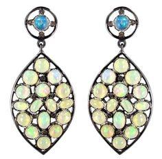 Vintage Inspired Opal Gemstone Sterling Silver Diamond Dangle Earrings Jewelry…