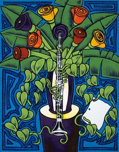 Flowers with Clarinet & Music Sheet