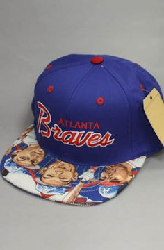 Atlanta Braves Fever Caricature Strapback Hat (Blue)(Script) by 123STRAPBACKS