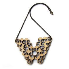 3D Cubes Necklace Wood now featured on Fab.