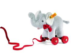 As your #baby starts to crawl and walk, let them pull their #Steiff along with them!  Trampili Elephant goes where ever Baby wants!