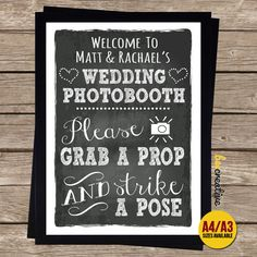 GRAB PROP STRIKE POSE Wedding Photobooth Chalkboard SIGN WEDDING Photo Booth in Home, Furniture & DIY, Wedding Supplies, Other Wedding Supplies | eBay