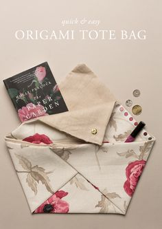 DIY :: quick and easy origami tote bag with Laura Ashley fabric Diy Origami, Fabric Origami, Origami Tutorial, Origami Tote Bag, Sewing Tutorials, Sewing Patterns, Bag Tutorials, Purse Patterns, Fabric Crafts