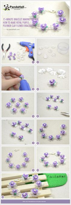 How to Make a Royal Purple Polymer Clay Rose Bracelet - Tutorial Again I would use a different color. It would look nice with pale roses. csa