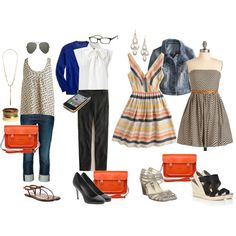 Super Cute: Ideas on how to style an orange purse, created by cardiganjunkie.polyvore.com