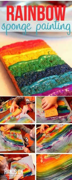 Rainbow sponge painting is super cool! via @handsonaswegrow