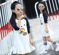2017 New Arrival Autum Baby Girls Baseball Dresses Long Sleeve O-neck Collar Casual Costume Stitching Ruffles Dress For Kid  T27 #Affiliate