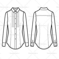 Women's Modern Tuxedo (pleated) Button Down Shirt Fashion Flat Template