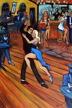 Bleu Tango Painting by Valerie Vescovi
