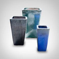 Vaso Vitrificado Quadrado Verde Vaso de cerâmica vitrificada vietnamita.