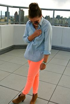 neon pants with chambray