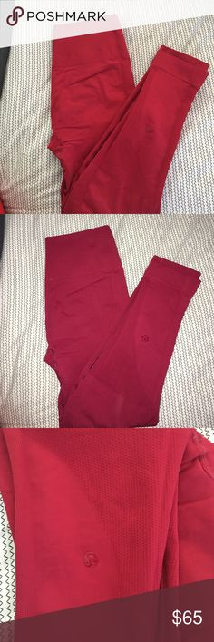 LULULEMON ZONE IN CROP Color is cranberry, VGUC. No rips, stains, pilling. Minor wear in seat area. Posted with and without flash to show wear and color. lululemon athletica Pants