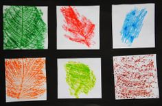 """Activities: Leaf Rubbing... """"We did this a couple of weeks ago at Cottage..."""" - Teacher Emily"""