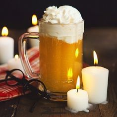 Butter Beer Recipe  (For the Butterbeer)  -6 12 oz. chilled Cream Soda  -1 tbsp. (2 tbsp. if adding Spiced Rum) imitation butter  -3/4 tsp. caramel or butterscotch syrup  -OPTIONAL: 1 or 2 oz. Spiced Rum PER SERVING  (For the Foam)  -2 cups heavy cream  -6 tbs. sugar  -2 tsp. vanilla extract  -1 1/2 tsp. imitation butter  -OPTIONAL: Cover foam with caramel or butterscotch syrup for extra sweetness!