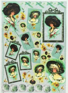 Rice Paper for Decoupage Decopatch Scrapbook Craft Sheet Vintage Lady with Hut