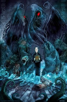 """Lovecraft"" by David Hartman  ""And where Nyarlathotep went, rest vanished; for the small hours were rent with the screams of nightmare. Never before had the screams of nightmare been such a public problem; now the wise men almost wished they could forbid sleep in the small hours, that the shrieks of cities might less horribly disturb the pale, pitying moon as it glimmered on green waters gliding under bridges, and old steeples crumbling against a sickly sky."""