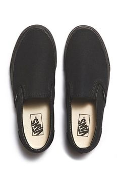 vans classic slip on black on black | bassike