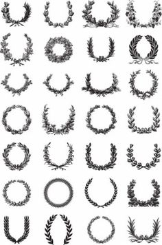 #vector #download http://all-free-download.com/free-vector/vector-misc/ornate_wreath_vector_set_148016.html