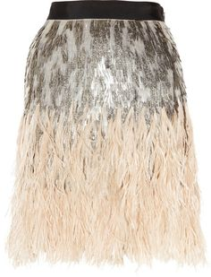 MATTHEW WILLAIMSON ENGLAND Feather and Sequin-embellished Silk Skirt - Lyst