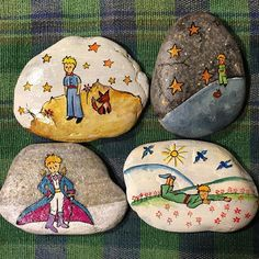 Painted Rocks, Hand Painted, Cute Paintings, Cross Stitch Baby, The Little Prince, Pretty Art, Pebble Art, Stone Art, Stone Painting
